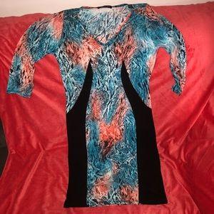Coral Pink & Blue Snakeskin Bodycon Dress Size 1X